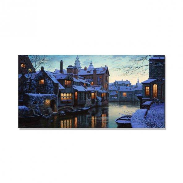 Led Işıklı Kanvas Tablo Göl Evi Kayık Tablosu 40 cm x 80 cm