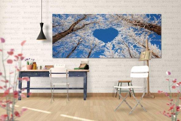 Kalp Desenli Ağaçlı Duvar Tablosu 80 cm x 160 cm