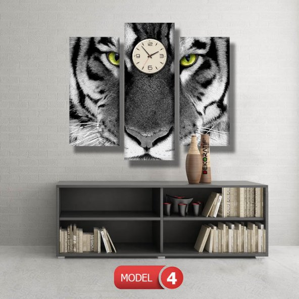 siyah-beyaz kaplan tablosu- saatli kanvas tablo MODEL 3 - 126x60 cm