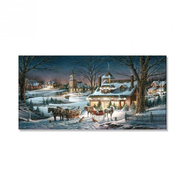 Led Işıklı At Arabaları Ve Evler Tablosu 80 cm x 160 cm