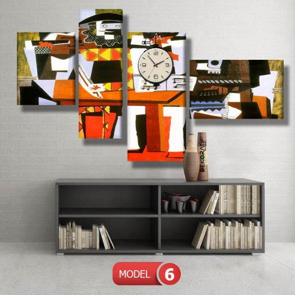 Three-Musicians-Pablo-Picasso tabloları- saatli kanvas tablo MODEL 1 - 162x75 cm