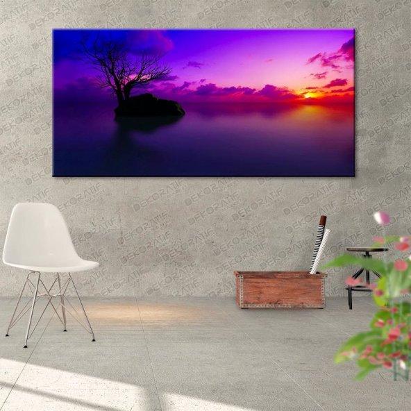 Mor Rengi Deniz-Ağaçlı Tablo 80 cm x 160 cm