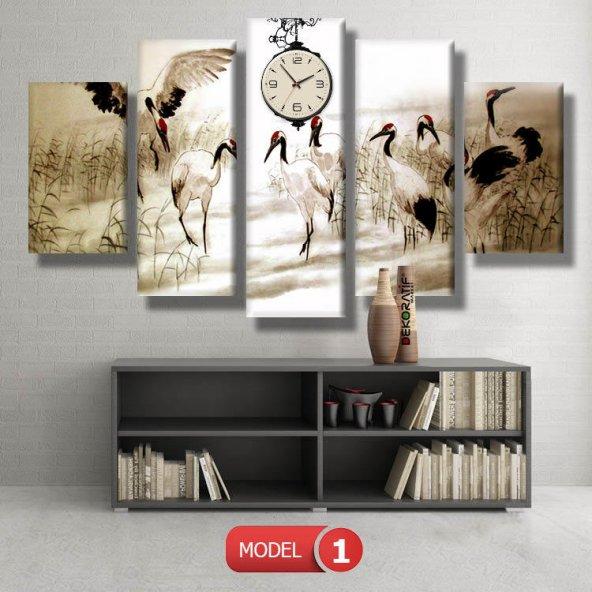 turna kuşları-doğa tabloları- saatli kanvas tablo MODEL 1 - 162x75 cm