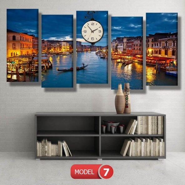 venedik temalı-şehir tabloları- saatli kanvas tablo MODEL 6 - 184x107 cm