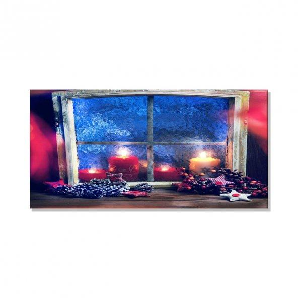 Titrek Led Işıklı Kanvas Tablo - Pencere Mumlu Tablo 40 cm x 80 cm
