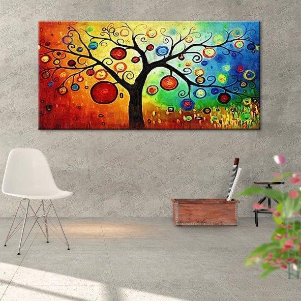 Renkli  Zemin Üzerinde Ağaçlı Duvar Tablosu 60 cm x 120 cm