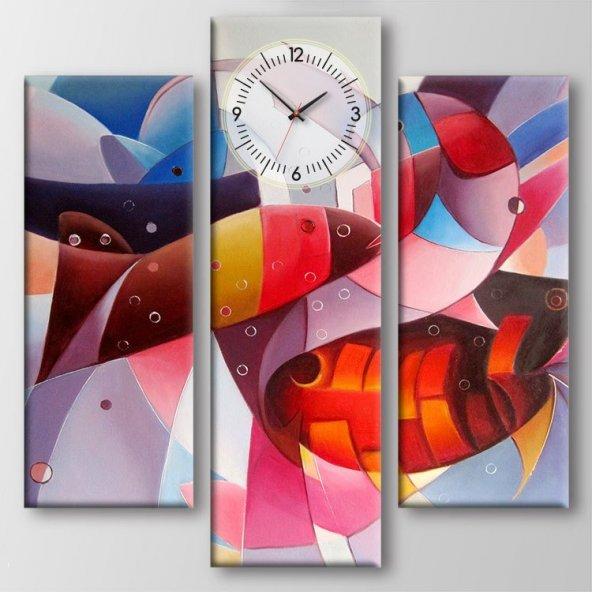 3 Parçalı Saatli Kanvas Tablo - Balık Tablo Duvar Saati KÜÇÜK BOY