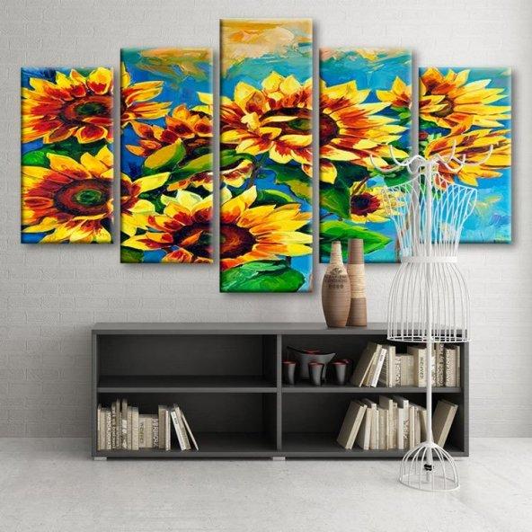 5 Parçalı Kanvas Tablo - Ayçiçekleri Duvar  Tablosu