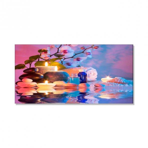 Titrek Led Işıklı Kanvas Tablo -  Lila Mumlu Tablolar 60 cm x 120 cm
