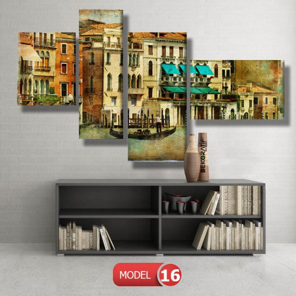 Retro Vintage Venedik Tabloları MODEL 14 - 123x60 cm