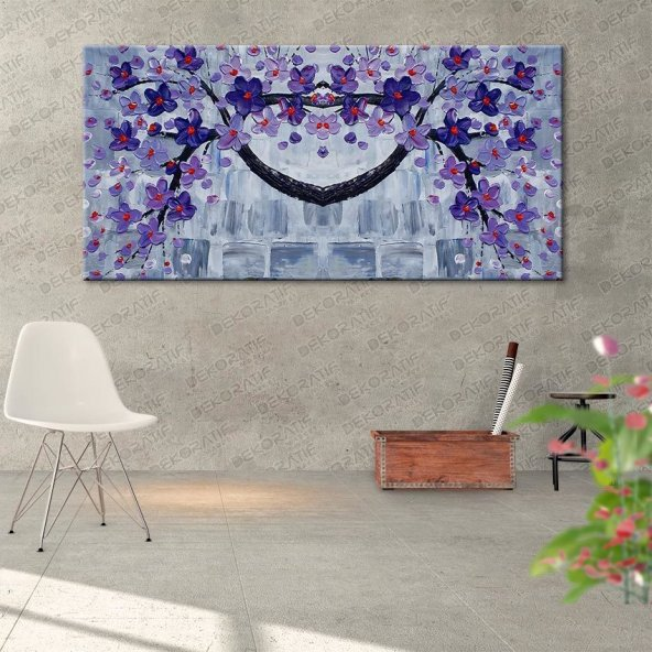 Duvar Desenli-Mor Çiçekli Tablo 80 cm x 160 cm