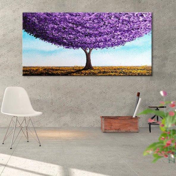 Mor Çİçekli Ağaç Duvar Tablosu 70 cm x 140 cm