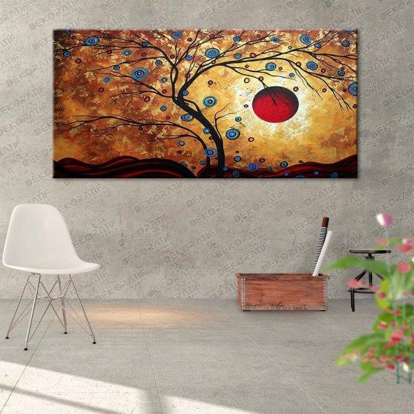 Ağaçlı-Kırmızı Güneş Resimli Tablo 70 cm x 140 cm