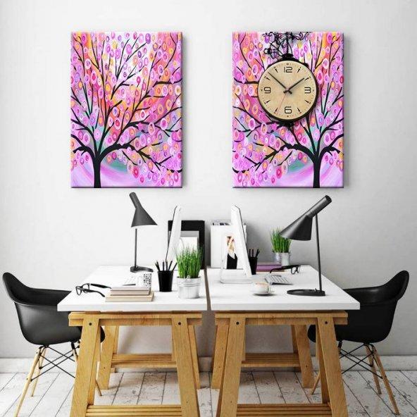 2 Parçalı Saatli Tablo Set - Pembe Ağaçlı Duvar Saati