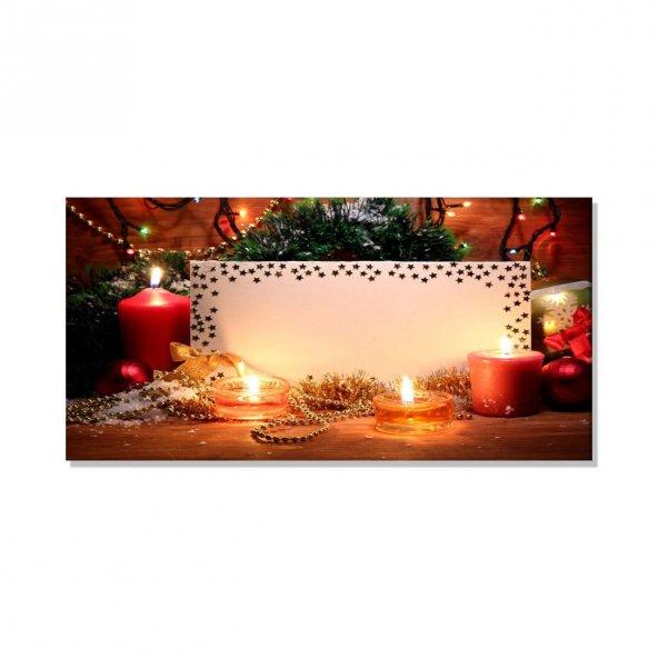Titrek Led Işıklı Kanvas Tablo -  Mum Tablolar 70 cm x 140 cm