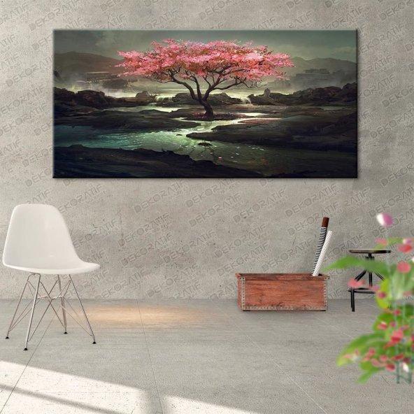 Akarsu Manzaralı Ağaçlı Tablo 50 cm x 100 cm
