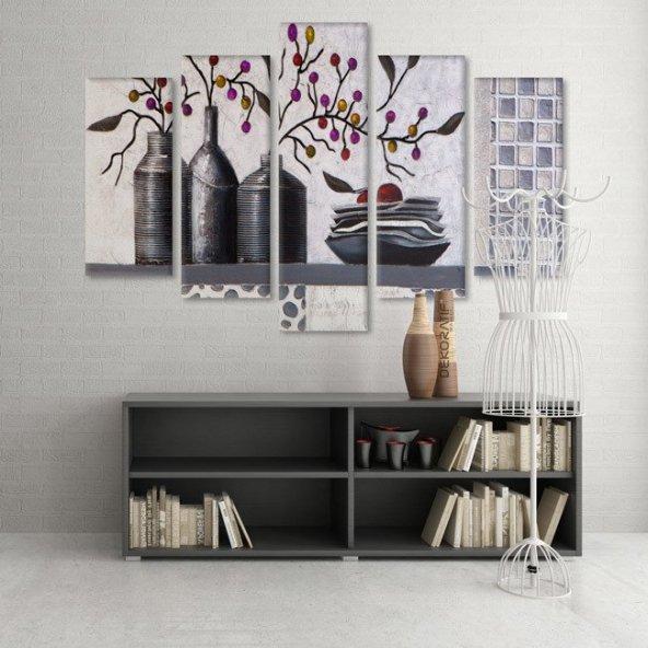 5 Parçalı Kanvas Tablo -Vazodaki Renkli Çiçekler  Duvar  Tablosu BÜYÜK BOY
