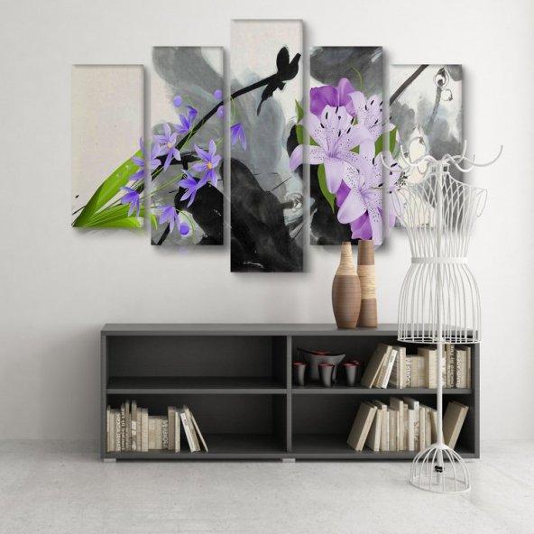 5 Parçalı Kanvas Tablo -Mor Tonda Çiçekler  Duvar  Tablosu ORTA BOY