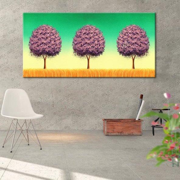 Sarı-Yeşil Renkte Ağaçlı Tablo 50 cm x 100 cm