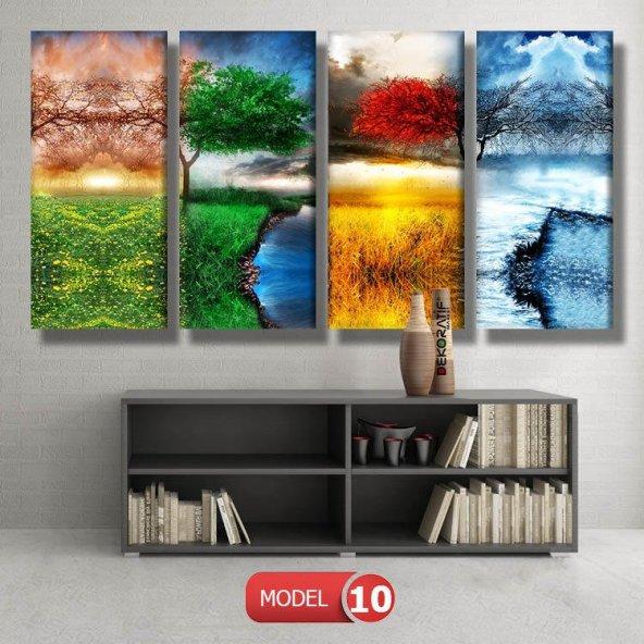 renkli dört mevsim ağacı tabloları MODEL 9 - 162x75 cm