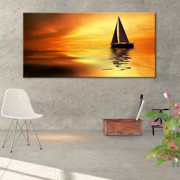Gün Batımı-Yelkenli Kanvas Tablo 70 cm x 140 cm