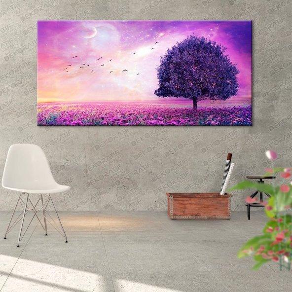 Mor Renk Ağaçlı Duvar Tablosu 30 cm x 60 cm