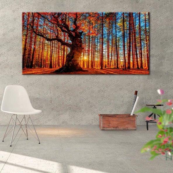 Gün Batımı-Ormanlı Duvar Tablosu 40 cm x 80 cm