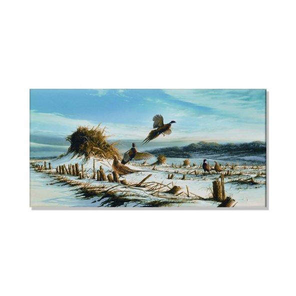 kış mevsimi ve kuşlar kanvas tablosu 60 cm x 120 cm