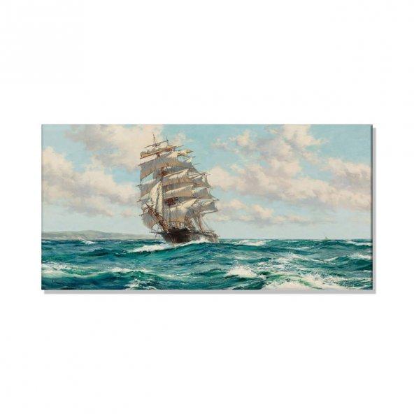 Montague Dawson - Eve Dönüş  Kanvas Tablosu 100 cm x 200 cm