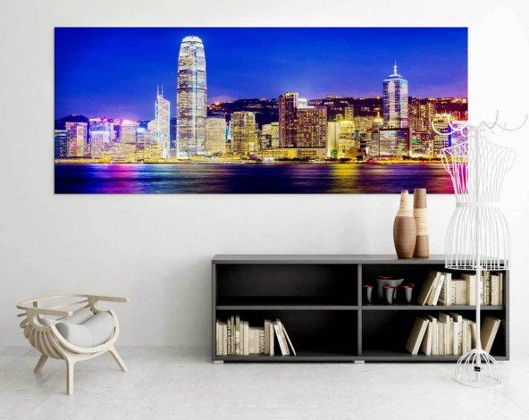 Yüksek Yapıt-Şehirli Kanvas Tablo 40 cm x 80 cm