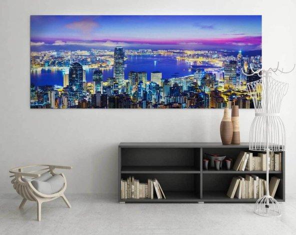 Deniz Manzaralı Şehir Duvar Tablosu 60 cm x 120 cm