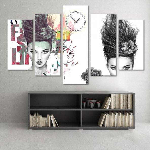 Pop Art Kadın  - 5 Parçalı Saatli Kanvas Tablo KÜÇÜK BOY