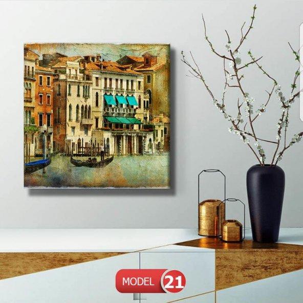 led ışıklı venedik tablosu 80 cm x 80 cm
