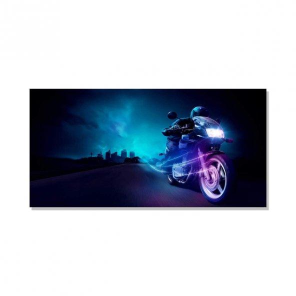 Led Işıklı  Motorsiklet Gece Görüntüsü   Kanvas Tablosu 60 cm x 120 cm