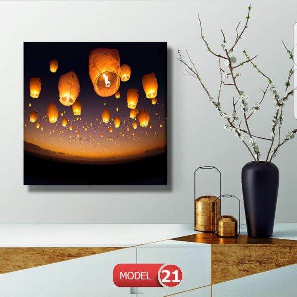 led ışıklı dilek feneri tablosu 40 cm x 40 cm