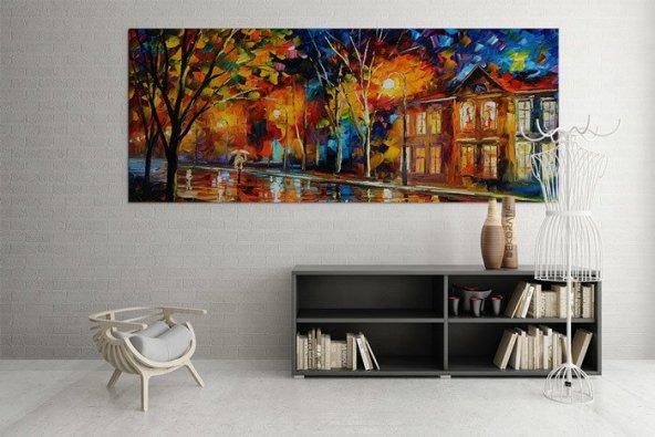 Yağlı Boya Görünümlü Ev Motifli Duvar Tablosu 70 cm x 140 cm