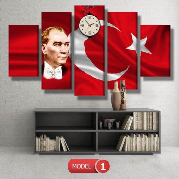 bayraklı atatürk tablosu- saatli kanvas tablo MODEL 1 - 162x75 cm
