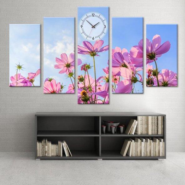 Pembe Çiçekli  - 5 Parçalı Saatli Kanvas Tablo BÜYÜK BOY