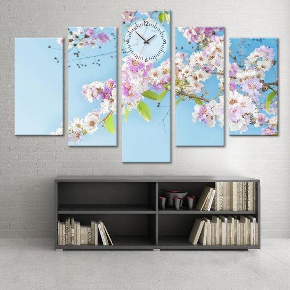Bahar Çiçekleri - 5 Parçalı Saatli Kanvas Tablo BÜYÜK BOY