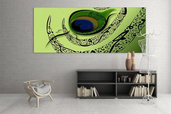 Fıstık Yeşili Zeminde Vav Desenli Tablo 30 cm x 60 cm