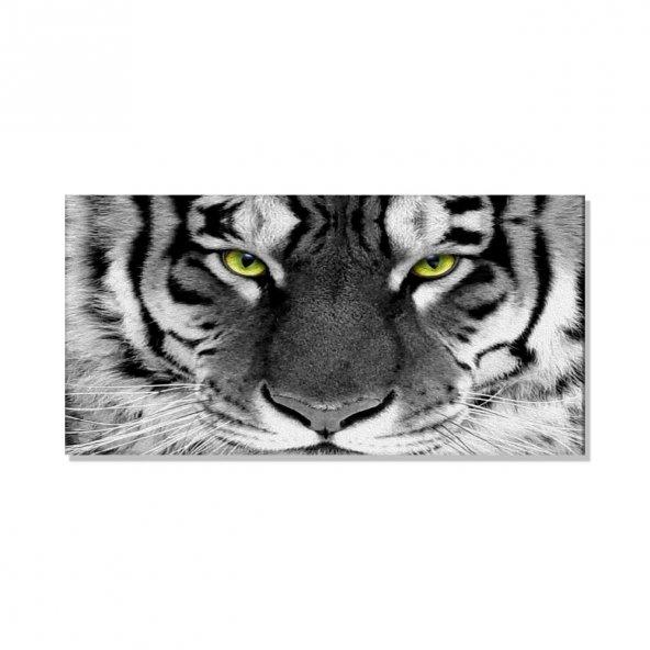 Kaplan Siyah-Beyaz  Kanvas Tablosu 80 cm x 160 cm