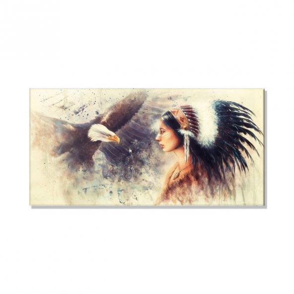 Kızılderili Kadın  Kanvas Tablosu 80 cm x 160 cm