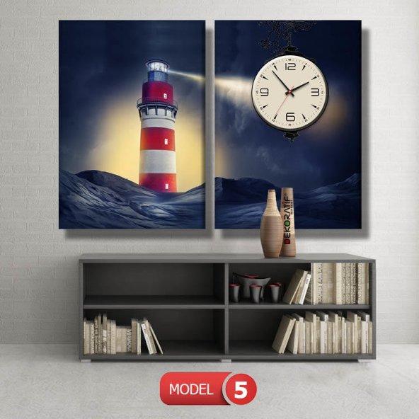 deniz feneri tablosu- saatli kanvas tablo MODEL 1 - 162x75 cm