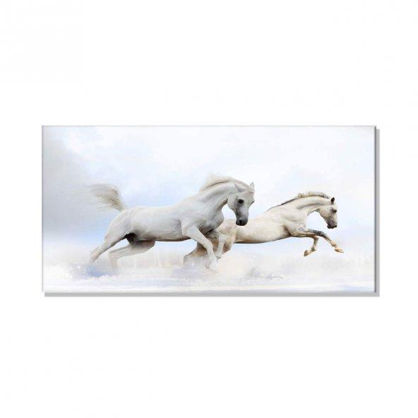 Beyaz Atlar   Kanvas Tablosu 40 cm x 80 cm