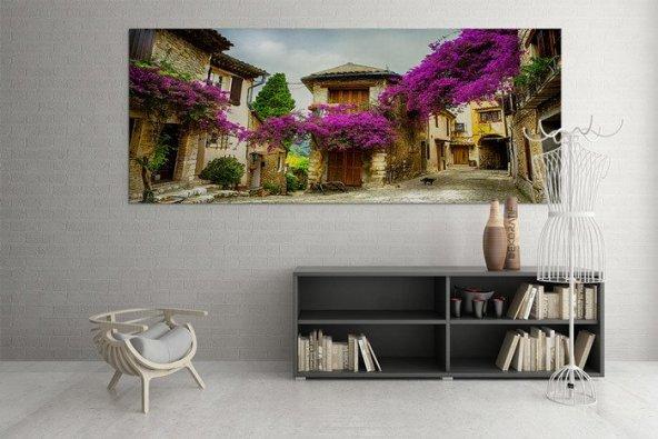 Leylaklı Ev Kanvas Duvar Tablosu 40 cm x 80 cm