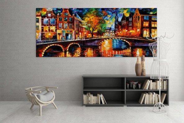 Yağlı Boya Görünümlü-Köprülü Duvar Tablosu 40 cm x 80 cm