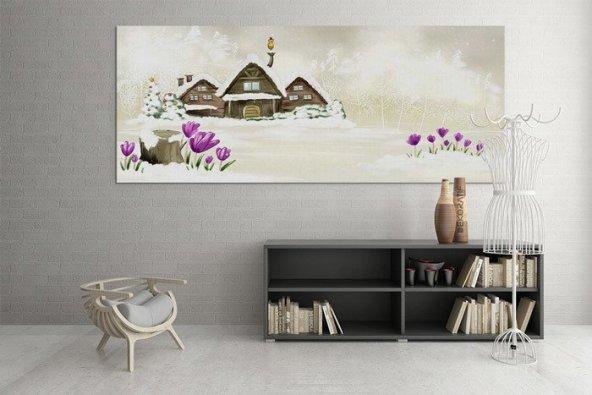 Dağ Evi-Kış Temalı Tablo 40 cm x 80 cm