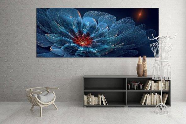 Turkuaz Zambaklı Duvar Tablosu 30 cm x 60 cm