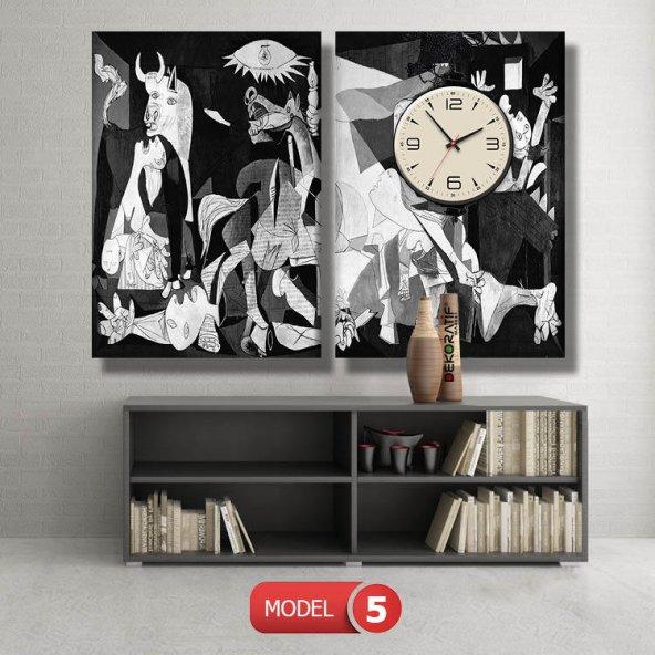 Guernica Pablo Picasso tablosu- saatli kanvas tablo MODEL 4 - 96x90 cm