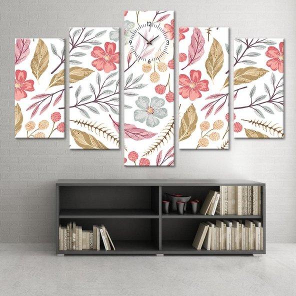 Renkli Çiçekli - 5 Parçalı Saatli Kanvas Tablo ORTA BOY